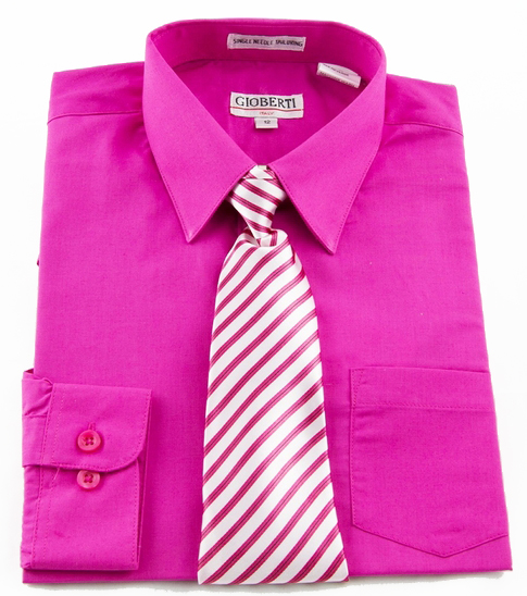 Boys Shirt And Tie Combination Hot Pink Bst105