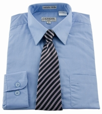 Boys Shirt and Tie Combination . Light Blue (BST110)