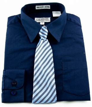 boys shirt and tie combination navy blue bst120