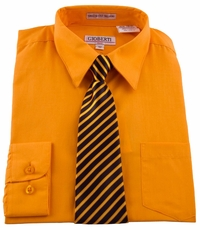 Boys shirt and Tie Combination . Orange (BST114)