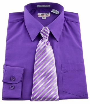 Boys Shirt And Tie Combination Purple Bst115