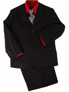 Boys Suit Combo with Vest, Shirt and Tie . Black with Red Pinstripes (KA240)