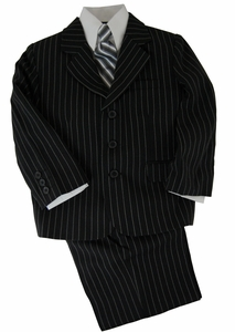 Boys Suit Combo with Vest, Shirt and Tie . Black with White Pinstripes (KA212)