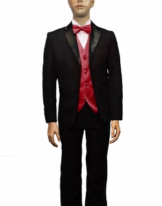 Boys Tuxedo and Vest Set Combination, Burgundy