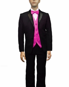 Boys Tuxedo and Vest Set Combination, Hot Pink