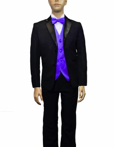 Boys Tuxedo and Vest Set Combination, Purple