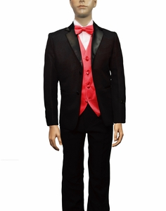 Boys Tuxedo and Vest Set Combination, Red
