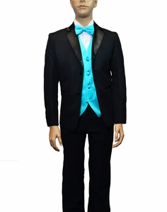 Boys Tuxedo and Vest Set Combination, Turquoise
