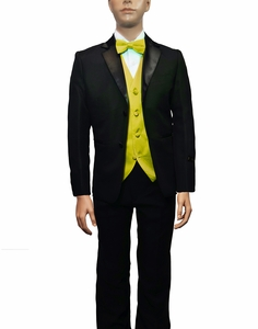 Boys Tuxedo and Vest Set Combination, Yellow