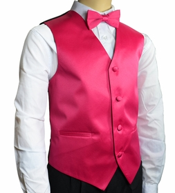 Boys Tuxedo Vest Set . Solid Hot Pink (K10-C)