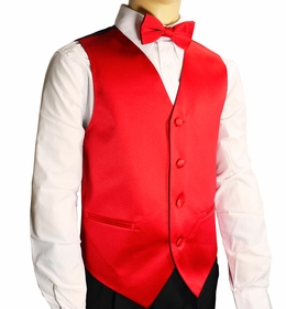 Boys Tuxedo Vest Set . Solid Red (K10-F)