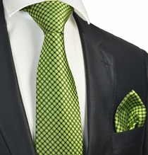 Bright Green Checked Tie and Pocket Square Set