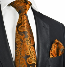 Bronze and Black Paisley Necktie and Pocket Square Set (Q600-X)
