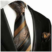 Bronze and Black Silk Tie and Pocket Square by Paul Malone