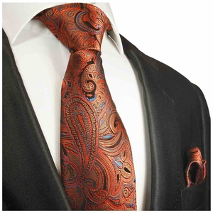 Bronze Paisley Silk Tie and Pocket Square by Paul Malone