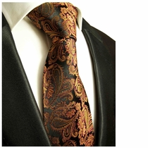 Bronze Paisley Silk Tie by Paul Malone (630)