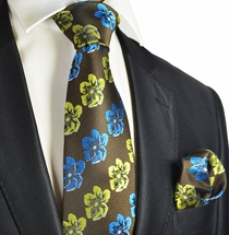 Floral Men's Necktie and Pocket Square Set