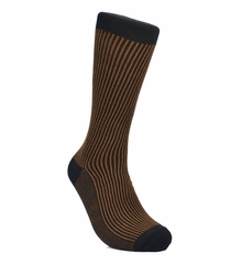 Brown and Black Striped Cotton Socks