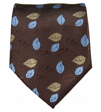 Brown and Blue Floral Men's Tie