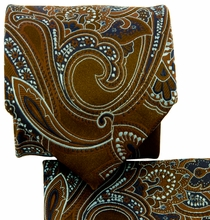 Brown and Blue Paisley Necktie and Pocket Square (Q569-F)