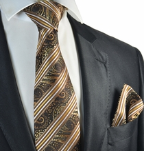 Brown and Bronze Striped Tie and Pocket Square Set