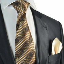 Brown and Bronze Tie with Rolled Contrast Pocket Square Set