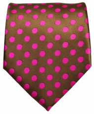 Brown and Hot Pink Dotted Men's Tie