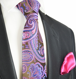 Brown and Pink Paisley 7-fold Silk Tie Set by Paul Malone