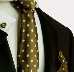 Brown and Silver Polka Dots . Silk Necktie Set by Paul Malone (589CH)
