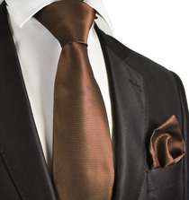 Brown Checked Necktie and Pocket Square