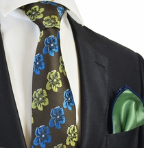 Brown Floral Men's Tie Combo with Green Rolled Pocket Square