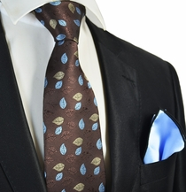 Brown Floral Tie with Blue Pocket Square Set