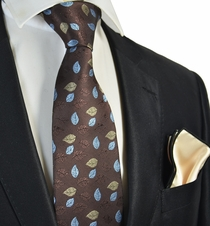 Brown Floral Tie with Champagne Pocket Square Set