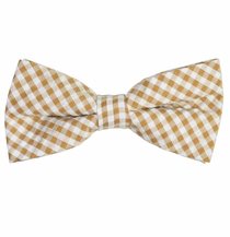 Brown Gingham Cotton Bow Tie by Paul Malone