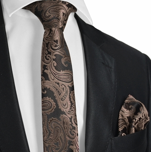 Brown Paisley Men's Tie and Pocket Square Set