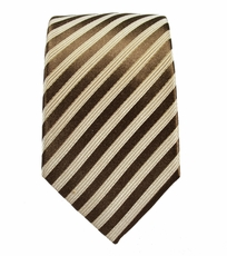 Brown Striped Slim Silk Tie by Paul Malone
