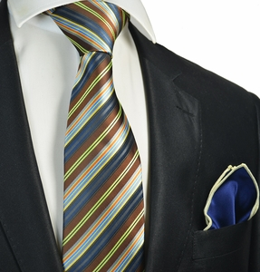 Brown Striped Tie with Contrast  Rolled Pocket Square Set