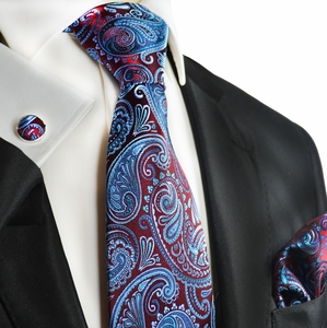 Burgundy and Aqua Paisley Silk Tie Set by Paul Malone