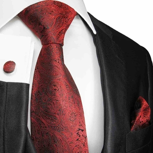 Burgundy and Black Paisley Silk Necktie Set by Paul Malone (586CH)