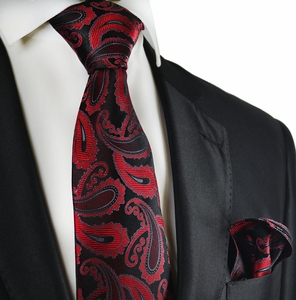 Burgundy and Black Paisley Silk Tie Set by Paul Malone