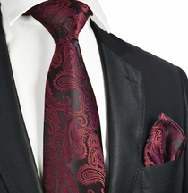 Burgundy and Black Tie and Pocket Square