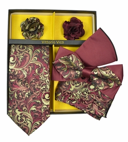 Burgundy and Gold Paisley Tie Set Gift Box