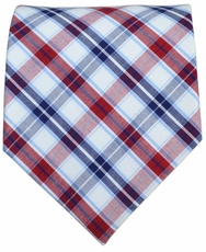 Burgundy and Navy Checked Cotton Tie by Paul Malone