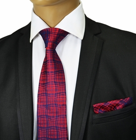 Burgundy and Navy Silk Tie Set , Paul Malone