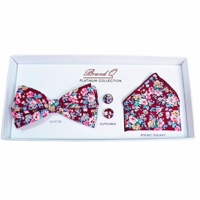 Burgundy and Teal Floral Bow Tie Gift Box