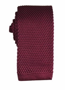 Burgundy Knit Tie by Paul Malone (KN672)