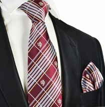 Burgundy Men's Tie and Pocket Square