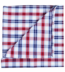 Burgundy, Navy and White Cotton Pocket Square by Paul Malone