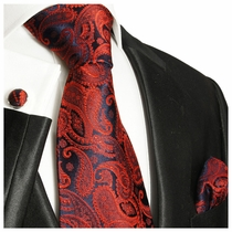 Burgundy Paisley Silk Tie Set by Paul Malone