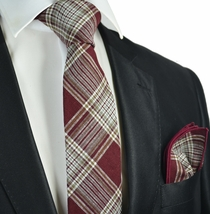 Burgundy Plaid Linen Tie and Pocket Square by Paul Malone